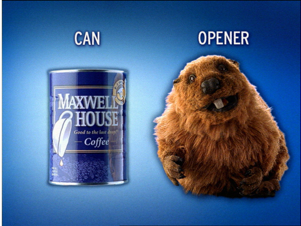 Animatronic Beaver Puppet Freddy in print ad for Maxwell House