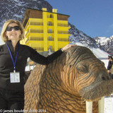 Coral Boulden standing next to Walrus rig at Ski Portillo in Chilean Andes.