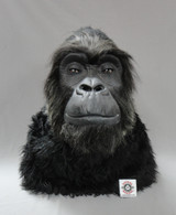 """Non animatronic gorilla head, with hand punched hair & whiskers all around the face for a more realistic look.  For a size comparison, our white patch is 2""""X2""""."""