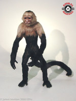 Capuchin monkey replica with a mouth that poses open