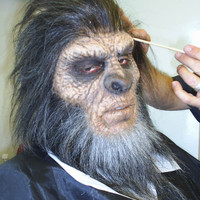 Bigfoot / Yeti / Sasquatch make up and hair work being applied.
