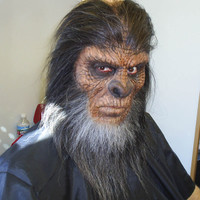 "Bigfoot / Yeti / Sasquatch make up, cowl and hair work completed.  This make up was done on a different actor then the prior image shown.  The Bigfoot ""look"" changes as the face of the actor changes."