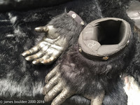 wear and tear as of 10/19/16 on inside of hand-gloves.  Feet are in great shape!  Palm shows some signs of wear.