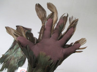 green feathered gloves costume accessory