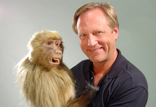 Jim Boulden with Babs the baboon