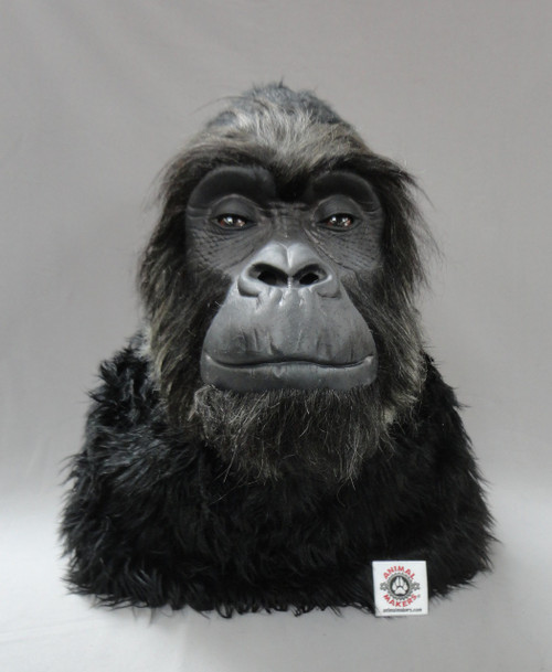 "Non animatronic gorilla head, with hand punched hair & whiskers all around the face for a more realistic look.  For a size comparison, our white patch is 2""X2""."