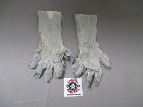 Gray feathered gloves for puppetry or costuming