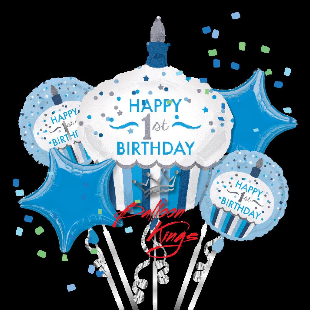 1st Birthday Boy Cupcake Bouquet