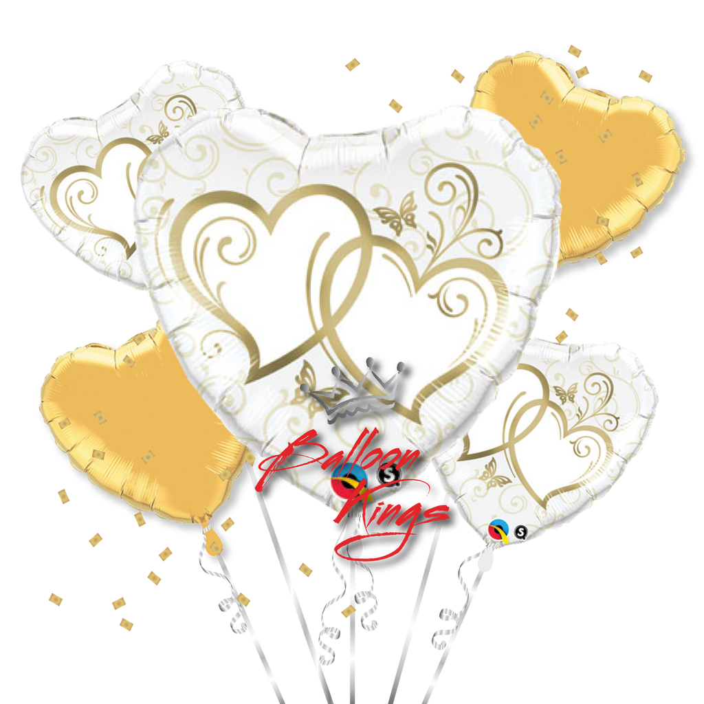 Entwined Gold Hearts Bouquet