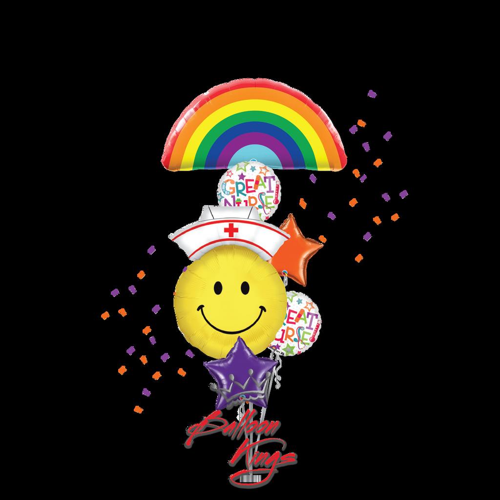 Rainbow Smiley Nurse Large Bouquet