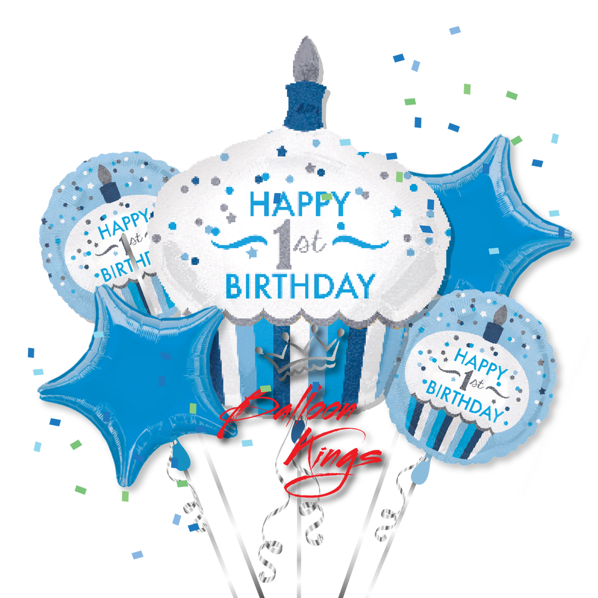 1st Birthday Boy Cupcake Bouquet   Balloon Kings