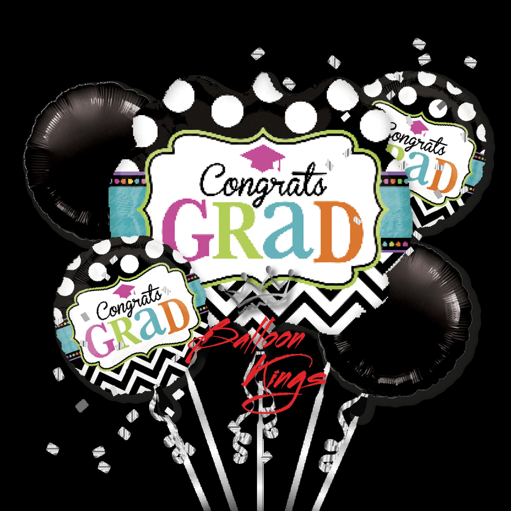 congrats grad chevron bouquet balloon kings