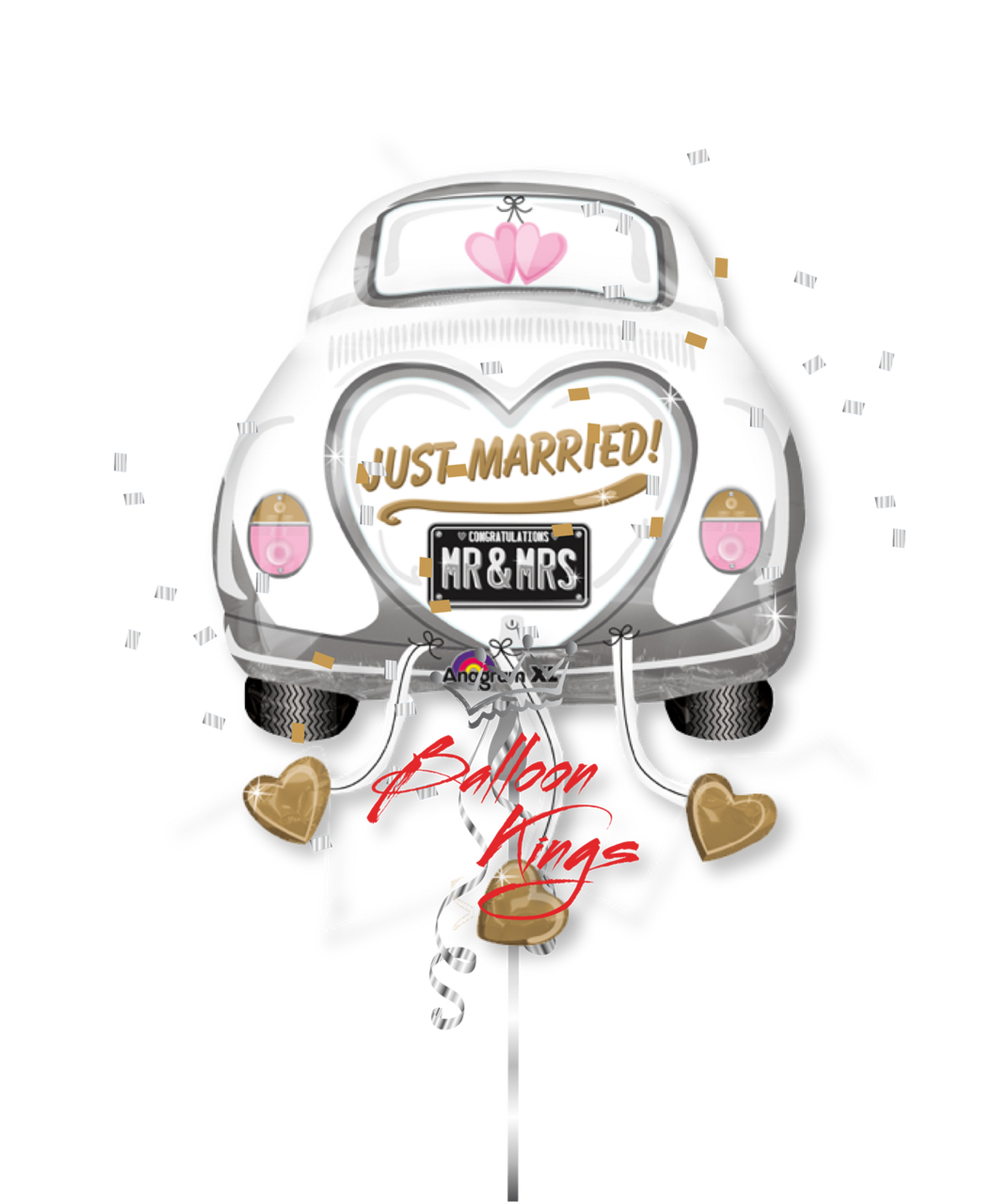 just married car d  balloon kings