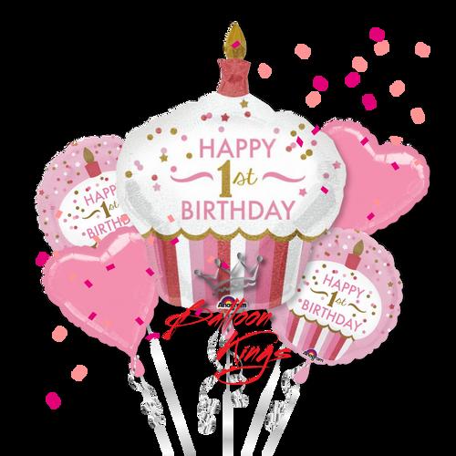 1st Birthday Girl Cupcake Bouquet