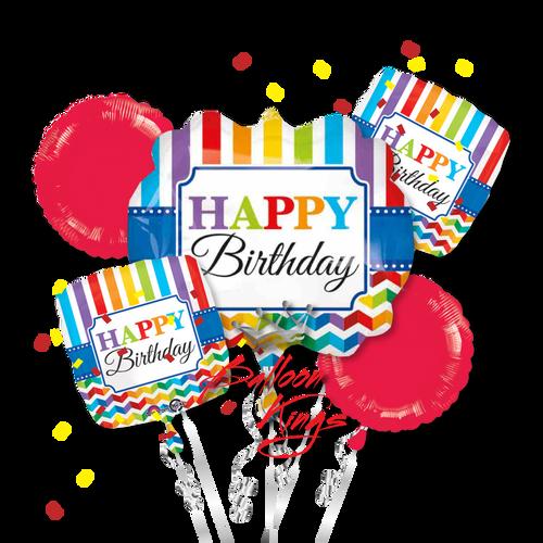 Happy Birthday Stripe And Chevron Bouquet