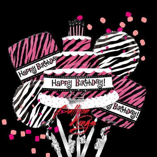 Happy Birthday Zebra Cake Bouquet
