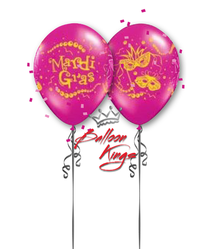 11in Latex Mardi Gras Mask - Wild Berry