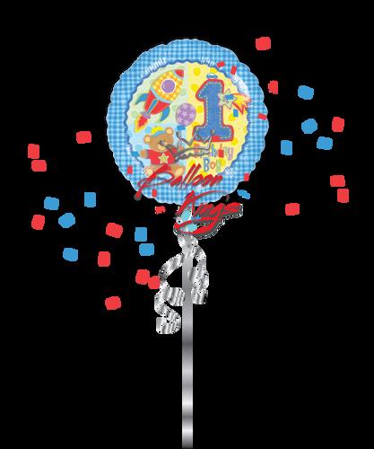 1st Birthday Teddy Bear Balloon Kings (D)