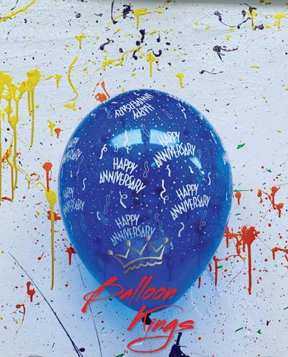 11in Latex Jewel Happy Anniversary - Blue