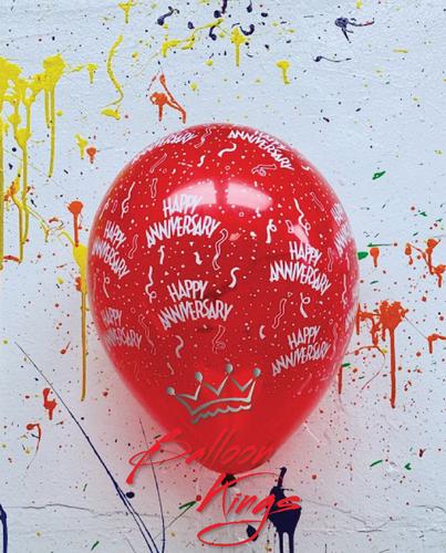 11in Latex Jewel Happy Anniversary - Red