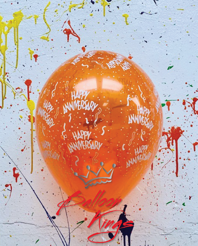 11in Latex Jewel Happy Anniversary - Orange