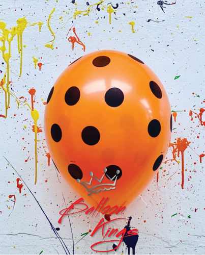 11in Latex Polka Dots Orange/Black
