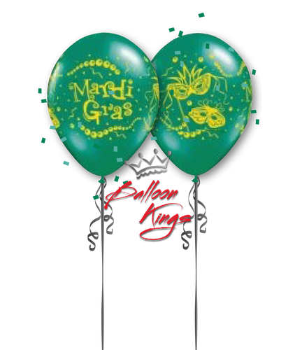 11in Latex Mardi Gras Mask - Green