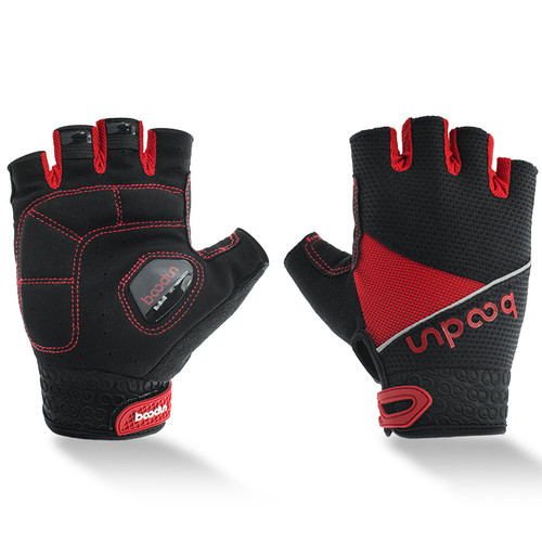 TEMPEST RED HALF FINGER CYCLING GLOVES