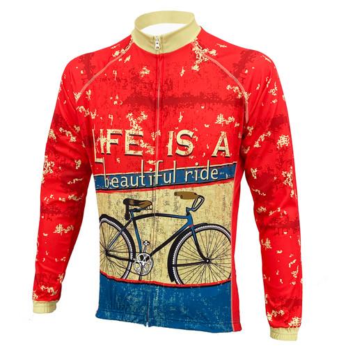 LIFE IS A BEAUTIFUL RIDE MEN'S LONG SLEEVE CYCLING JERSEY
