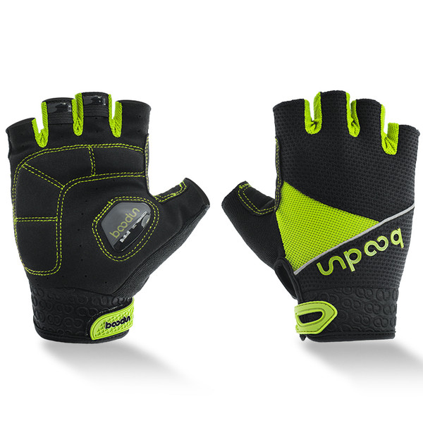 TEMPEST GREEN HALF FINGER CYCLING GLOVES