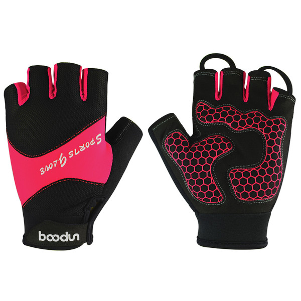 SPORT PINK HALF FINGER CYCLING GLOVES