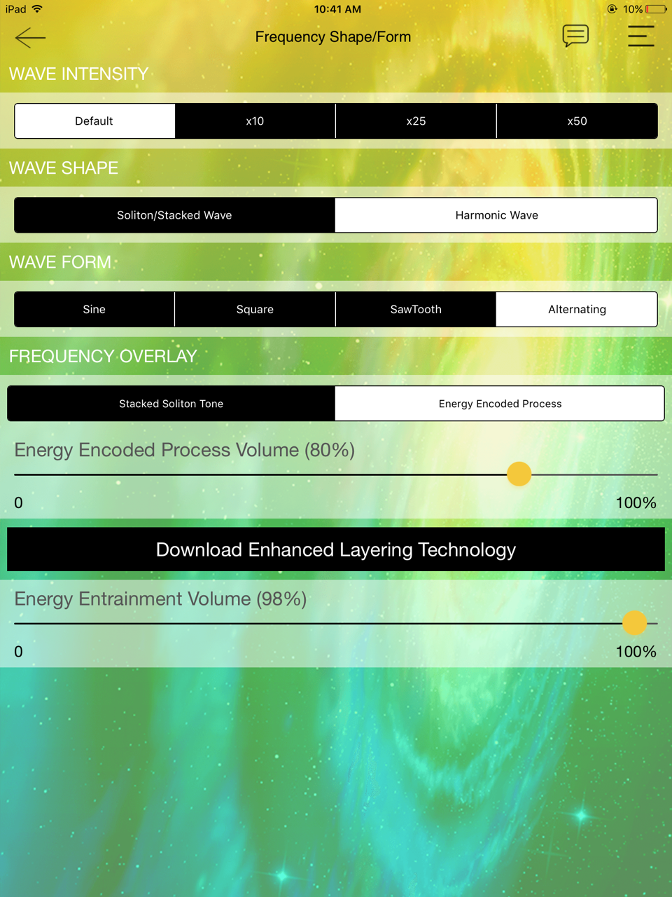 There are a multitude of frequency options here! Try Alternating Energies, which runs through sine, sawtooth and other frequencies. This powerful option creates more adaptation in the energy field.