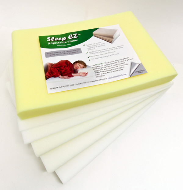 """The Sleep EZ Adjustable Pillow comes with Spacers of 1 1/2"""", 1"""" , ½"""", and ¼"""" thicknes."""