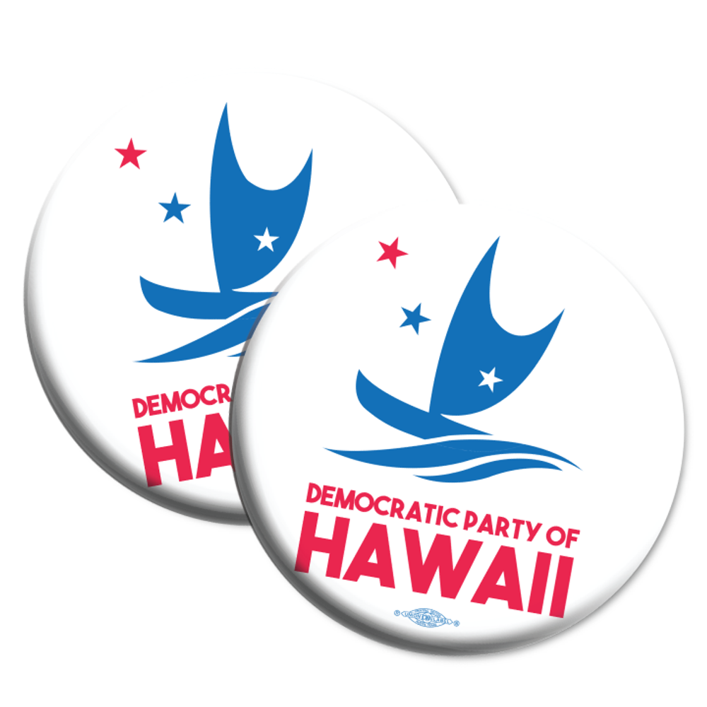 "Democratic Party Of Hawaii Official Logo  (2.25"" Mylar Button -- Pack Of Two!)"