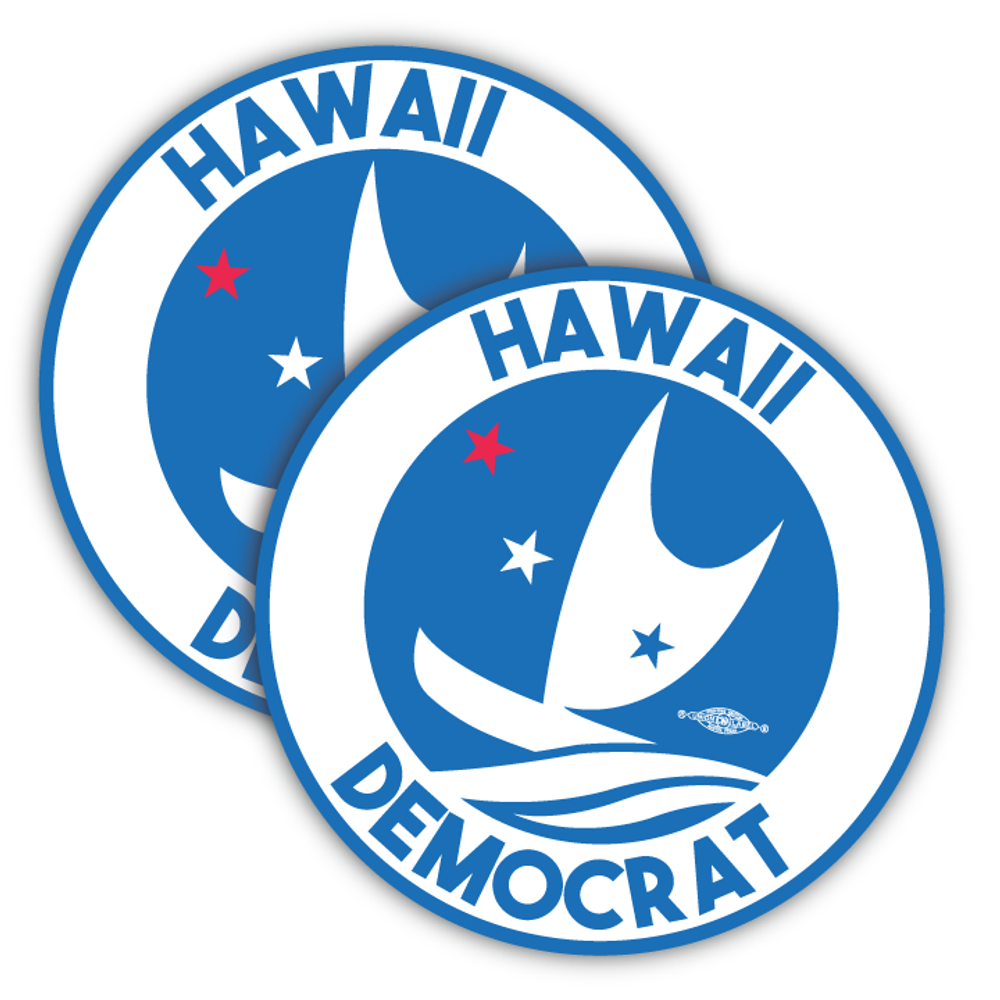 "Hawaii Democrats - Circular Graphic (4"" x 4"" Vinyl Sticker -- Pack of Two!)"