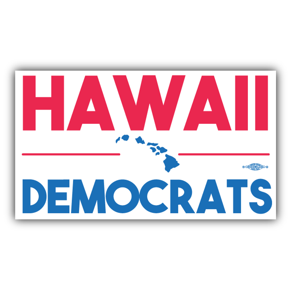 "Hawaii Democrats Islands (8"" x 5"" Vinyl Sticker -- Pack of Two!)"