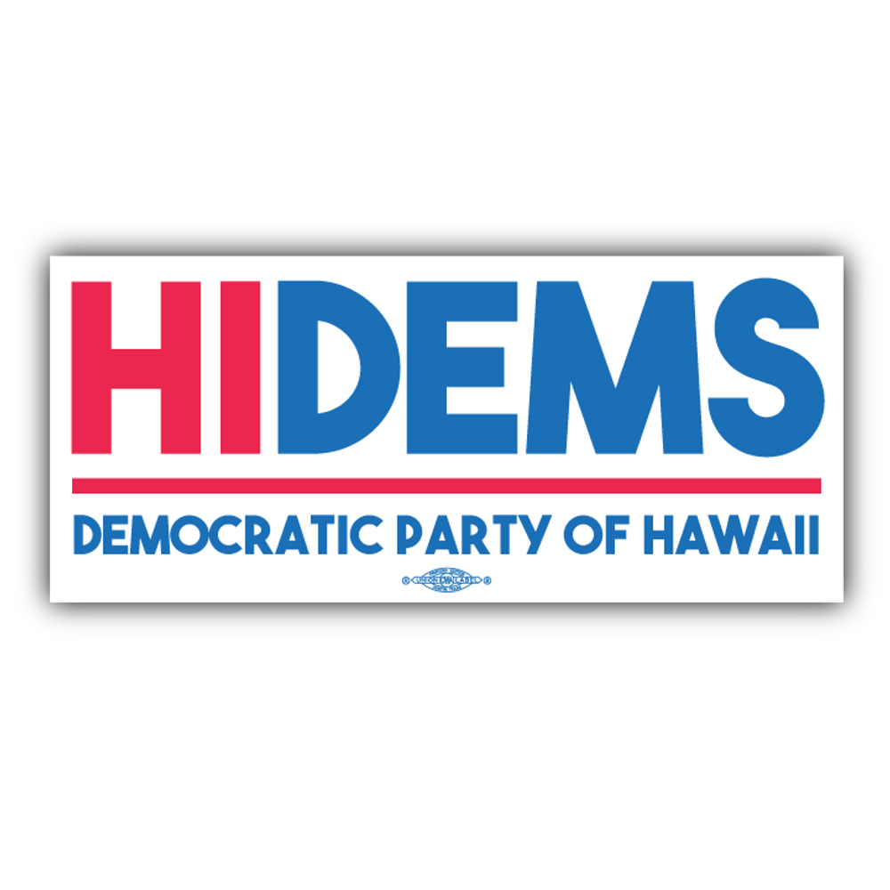"HI DEMS Rectangular Logo (8"" x 3"" Vinyl Sticker -- Pack of Two!)"