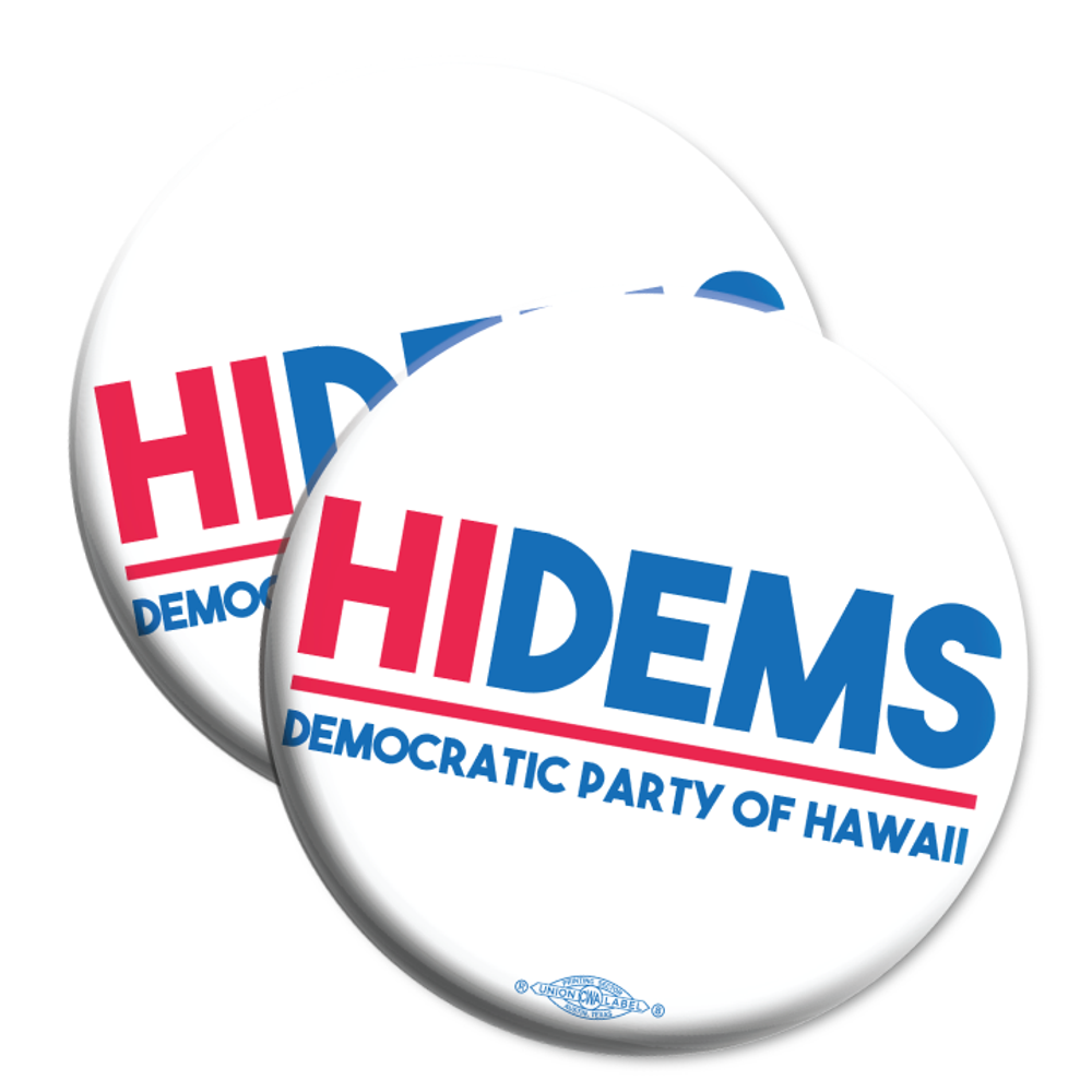 "HI DEMS Rectangular Logo (2.25"" Mylar Button -- Pack Of Two!)"