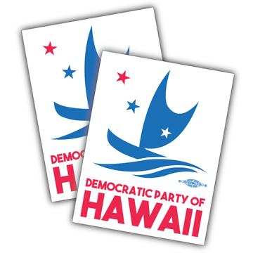 "Democratic Party Of Hawaii Official Logo  (5"" x 4"" Vinyl Sticker -- Pack of Two!)"