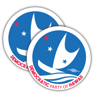 "Democratic Party of Hawaii - Circular Logo (4"" x 4"" Vinyl Sticker -- Pack of Two!)"