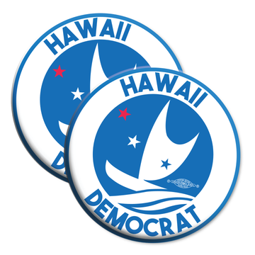 "Hawaii Democrats - Circular Graphic (2.25"" Mylar Button -- Pack Of Two!)"