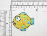 "Fish Bulbous Sparkly Iron On Embroidered Patch  Yellow Opalescent Sparkle  Backing with embroidery - Measures 1 3/4"" x 1 1/2"""