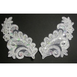 Collar Appliques Beaded L & R White