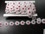 """Venise Lace 1"""" White & Red Daisy 10 Yards"""