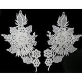 Venise Lace Collar Appliques - Left & Right White