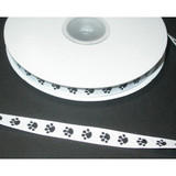 "Grosgrain Ribbon 3/8"" Paw Print White 25 Yard Roll"