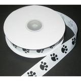 "Grosgrain Ribbon 7/8"" Paw Print White 25 Yard Roll"