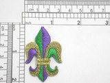 "Fleur De Lys 2"" Metallic Gold Green & Purple Iron On Patch Applique  Fully Embroidered   Measures 1 1/4"" across x 2"" high"