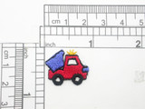 "Dump truck Patch Mini Iron On Embroidered Applique  5 Pack    Measures 11/16"" high x  7/8"" across"