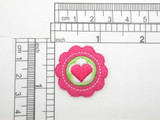 """Heart Rosette Patch Embroidered Iron On Applique 1 3/16"""""""